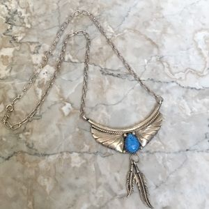 Native American Blue Jean Lapis Feather Necklace